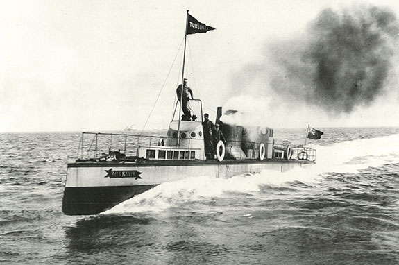 Christopher Leyland captains the experimental ship Turbinia in a trial off the Tyne